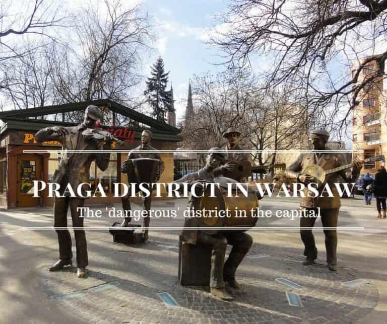 Praga district in warsaw background